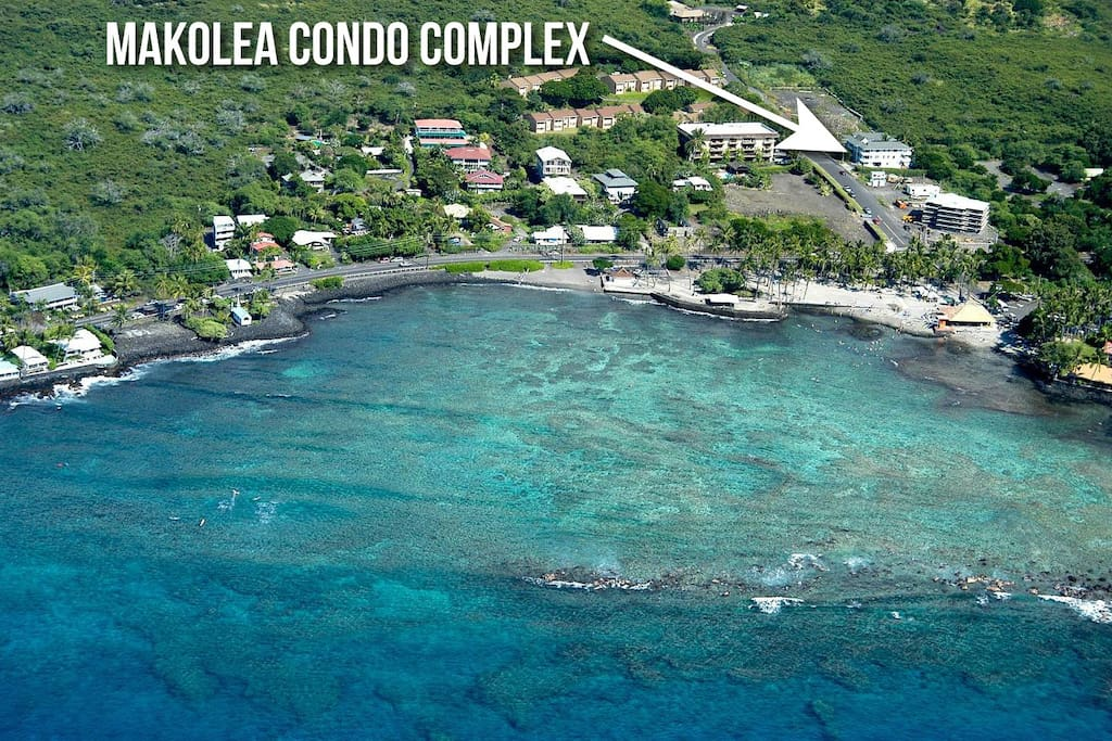 The condo complex is a 1-2 minute walk and .11 mile to Kahalu'u Beach Park.