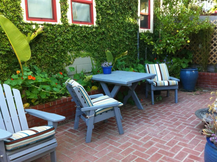 This is our back patio. We have a lemon tree and sun all day!