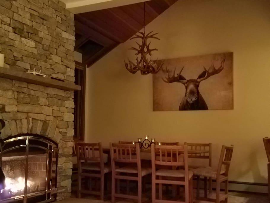 Fireplace Living room w/ Antler Chandelier