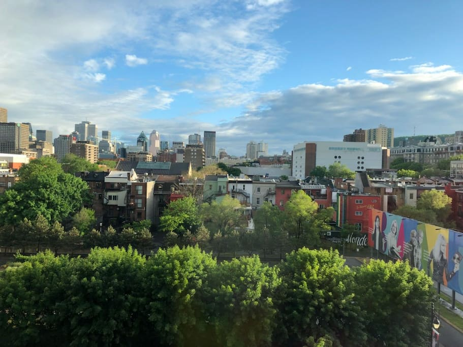 Downtown MTL as seen from the window on a sunny day