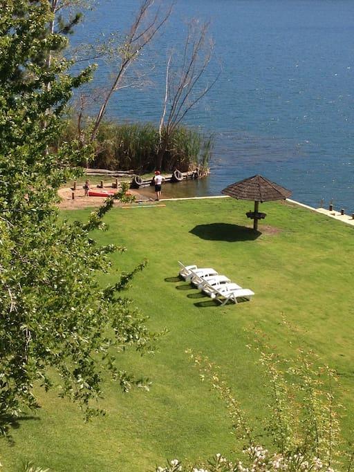 private garden lake side
