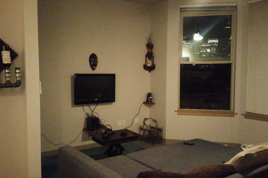 TV area with couch/bed