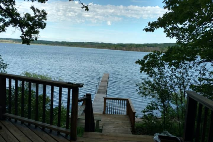 Family-friendly lodge w/ three decks, a private dock, & lake activities nearby!