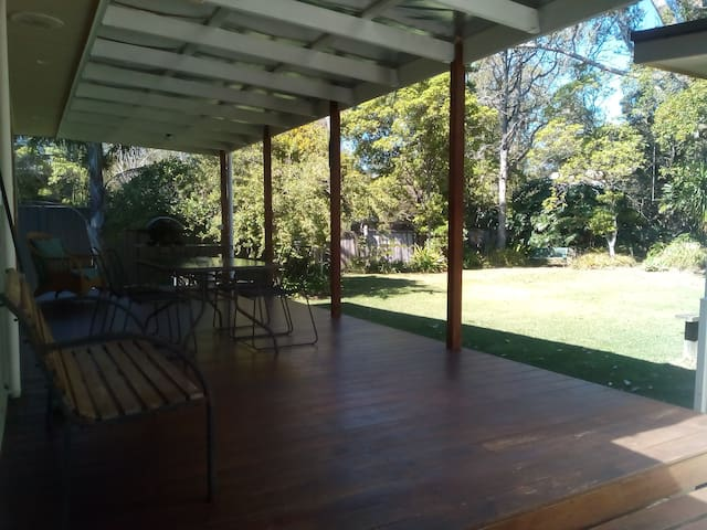 Private back deck, with BBq, bush setting