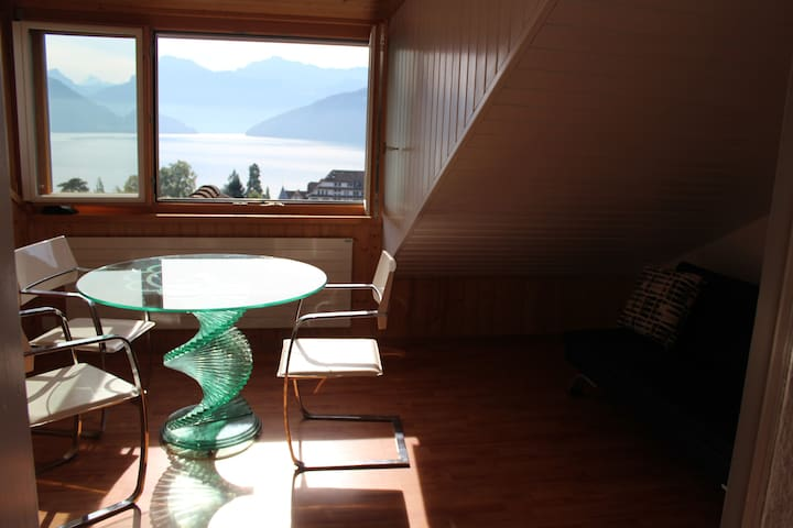 One of the iconic views of the Lake of Lucerne, from house