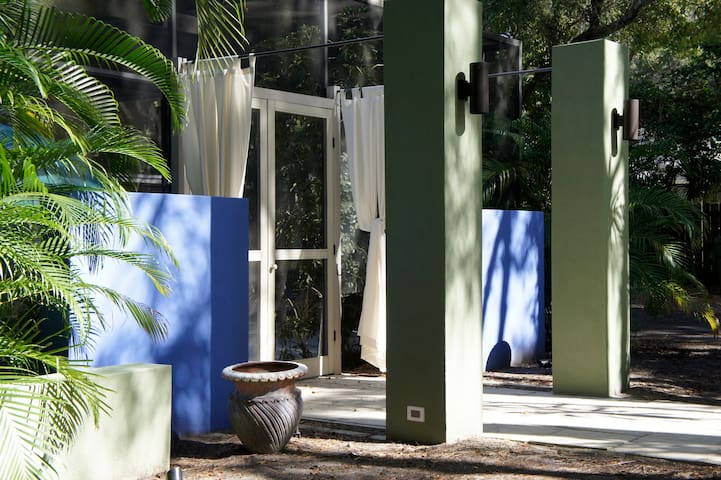 one of two entrances to pool and lounge, South Beach inspired