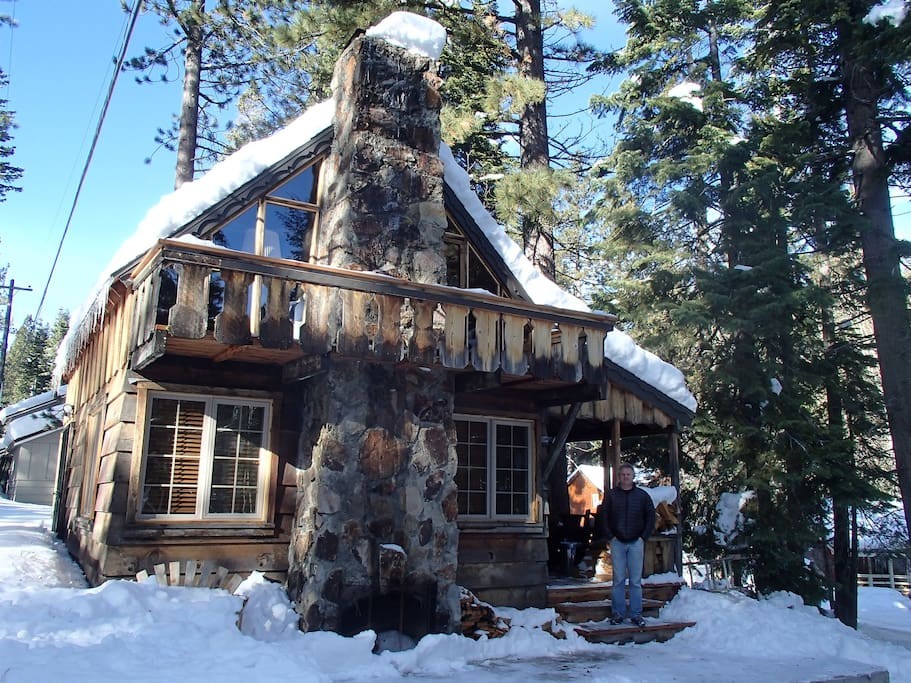 Exterior of Cabin Front in Winter
