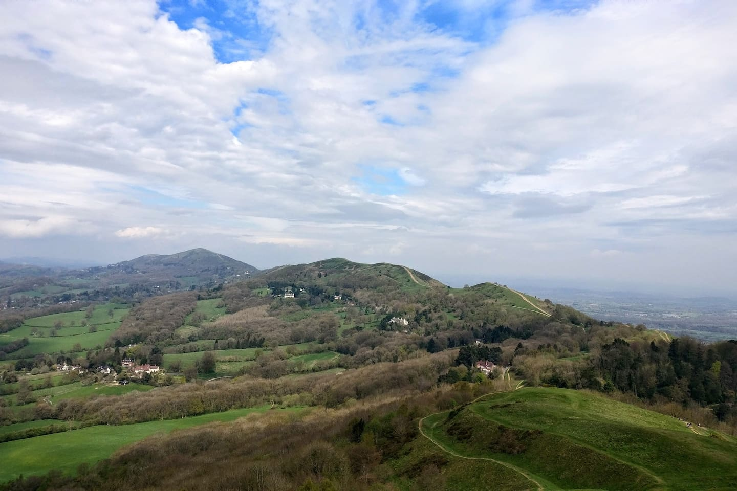 """Malvern Hills from British Camp. """"One of the goodliest Vista's in England"""", John Evelyn, 1654."""