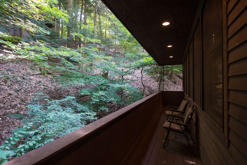 Open balcony off the kitchen with wooded views