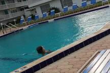 Large heated olymic size pool.
