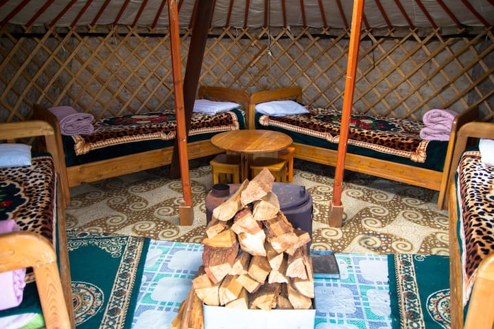 Dorm Bed in Traditional Ger - Mongol Ujin Camp