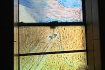 Bathroom window gives a view of Deer's Ears from old Mundle's place that we annexed to the ranch in the early 80's.