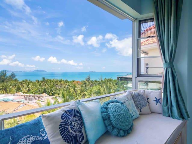 【Dream 海岸线】三亚湾椰梦长廊的180度海景度假屋 近机场/海边/小区泳池