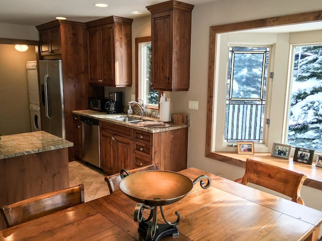 This is another view of the open floor plan in this elegant condo