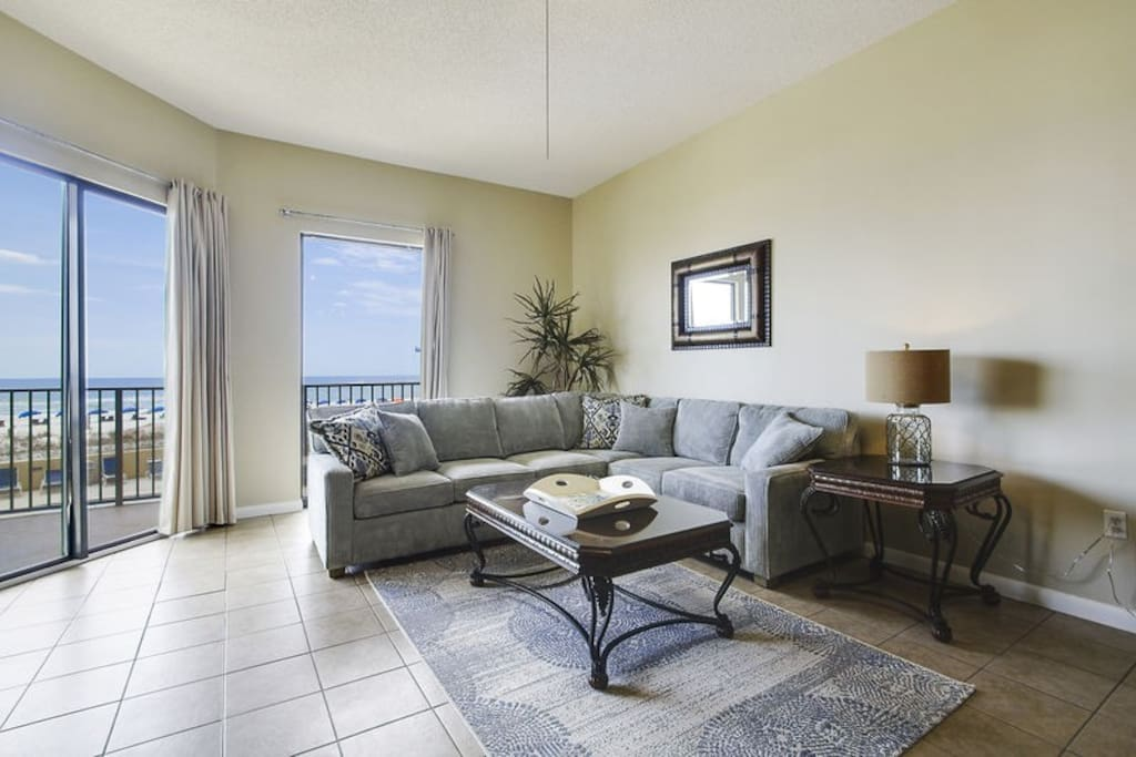 Spacious Living Room with Balcony Access