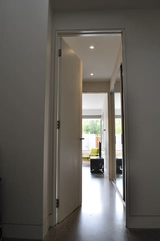 Your private walkway to your room with en suite bathroom and walk in robe