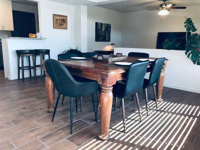 Dining table seating for six with room for a feast or games.