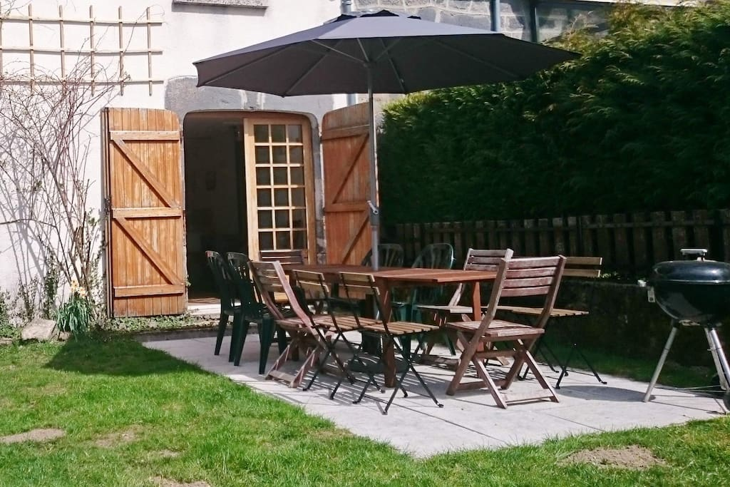 New for 2015! Terrace with large table for 12 people and sun umbrella.