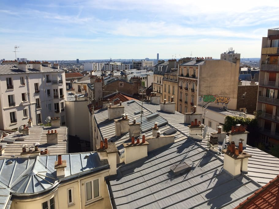 view from kitchen/living room window overlooking central Paris.