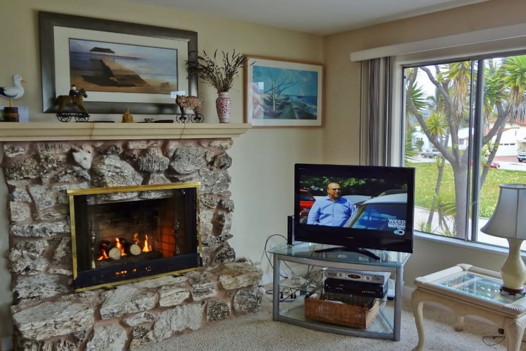fireplace and tv with dvd