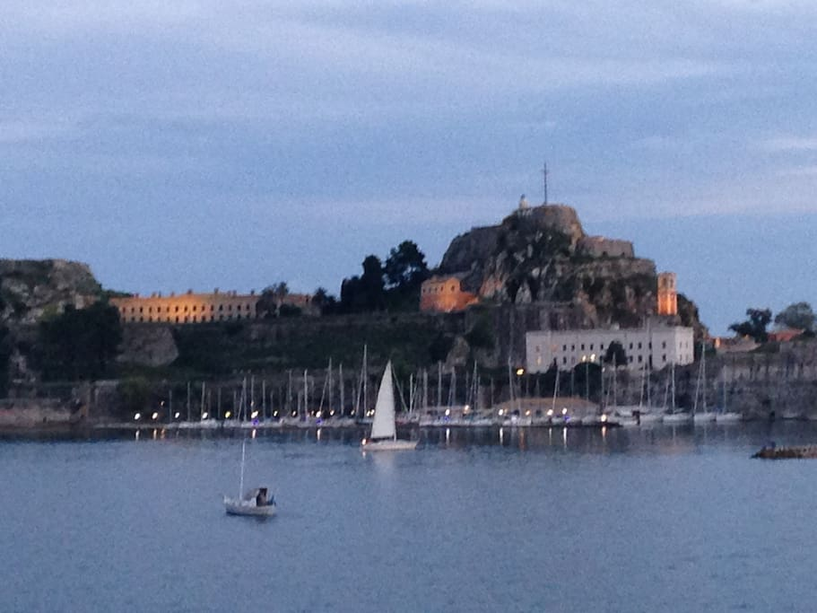 view of corfu old castle from the sea
