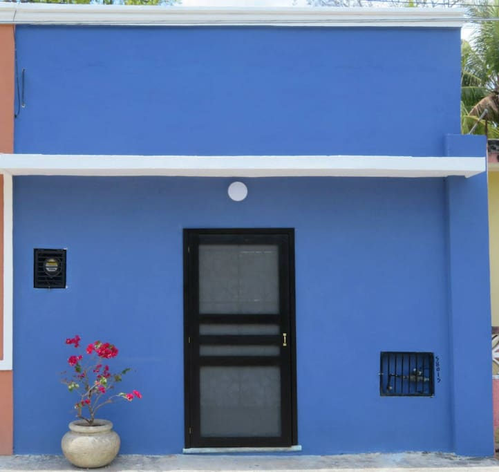 The Casita street view--the house doesn't have a number, but you can't miss it for the blue and the bouganvillea.