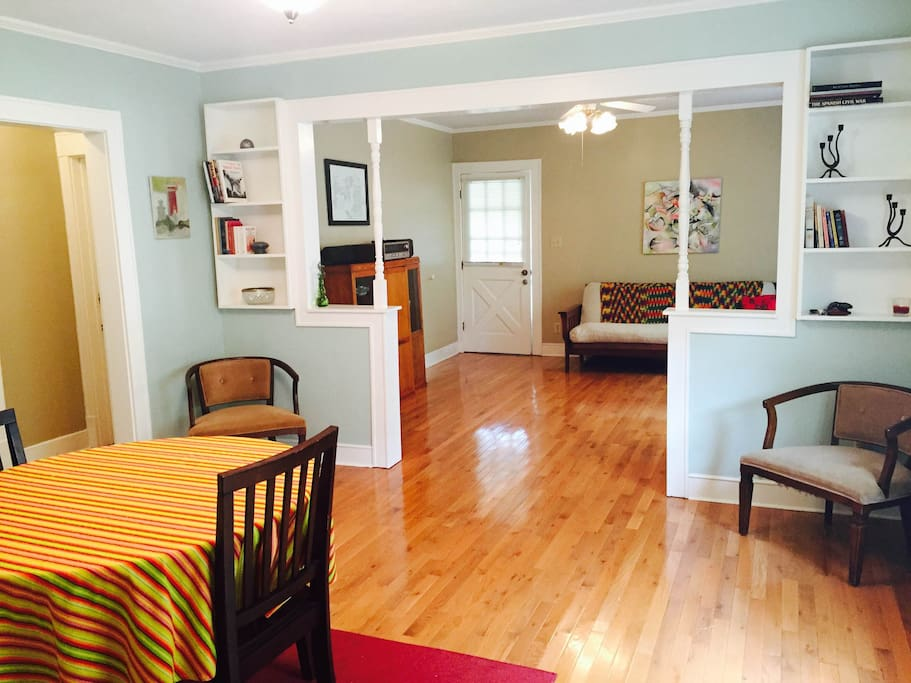 Dining room looking into living area