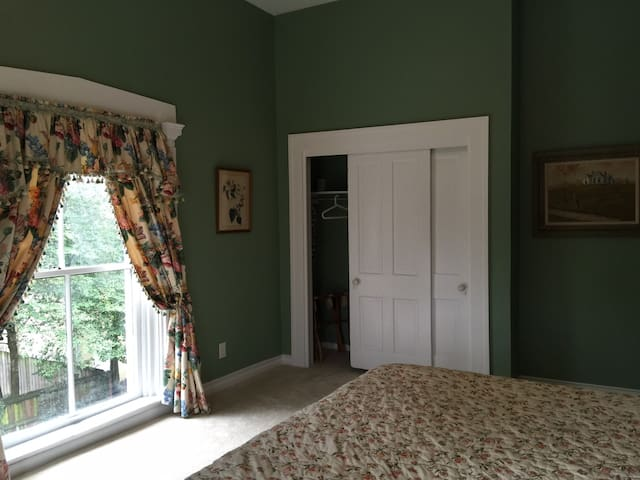 Huge closet with old sliding doors