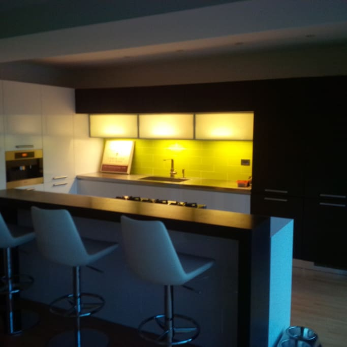 Modern Kitchen, gas stove, Built in Miele coffee maker...great coffee every time!