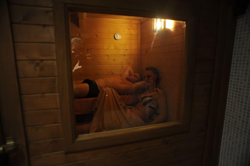 Sauna Finlandesa del Spa privado de la casa La Jara