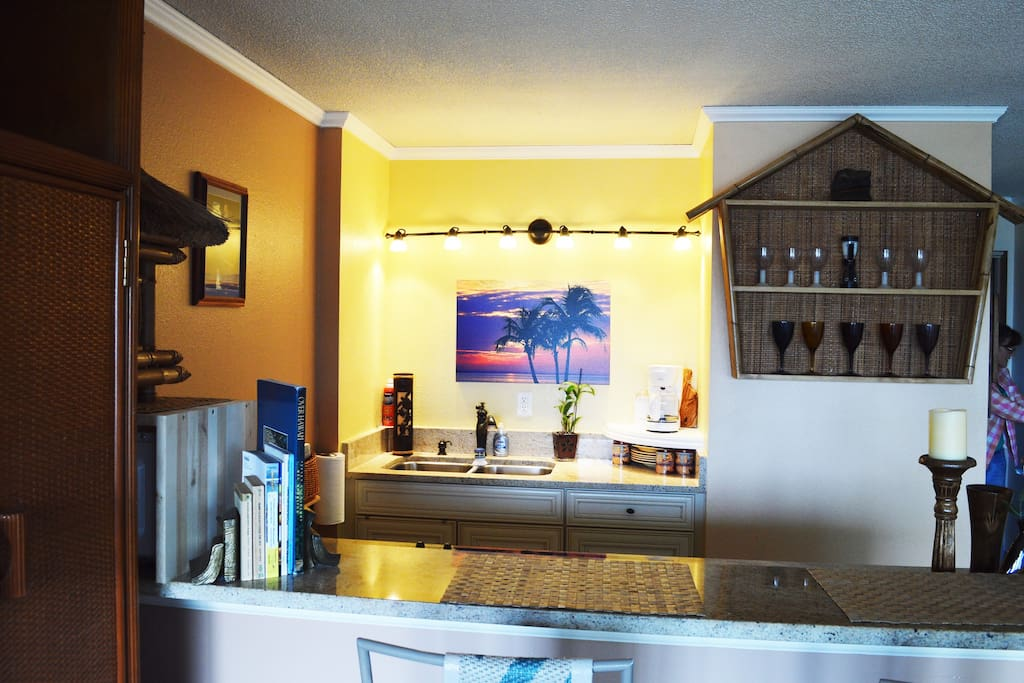Ample counter space and ambiance lighting