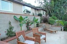 Your private deck, in front of house, view of Riverside and SB mountains (furniture is no longer the same on deck)