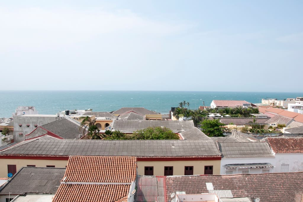 View of ocean and the roofs of the 'Old City'
