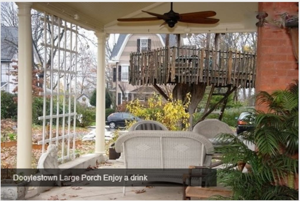 Large porch with fans