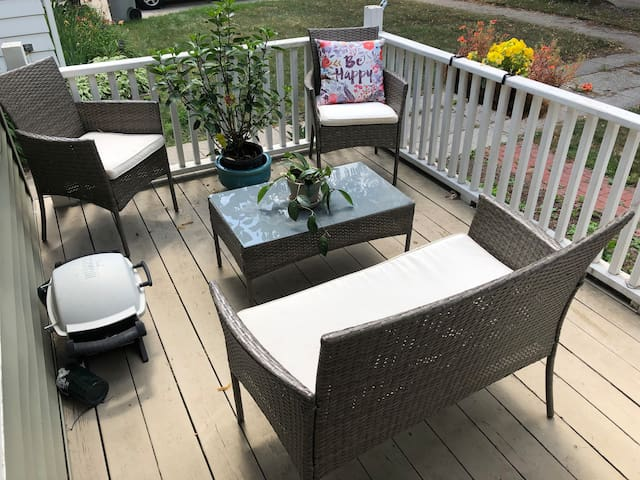 Enjoy the western facing porch on nice afternoons and evenings. Sit and enjoy some coffee in the morning!