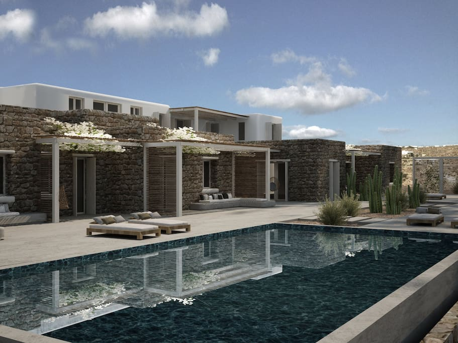 Front view of villas & private pool