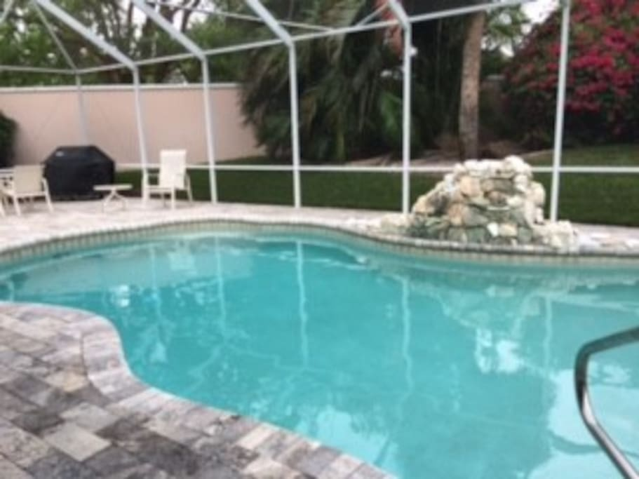 Large swimming pool off great room.