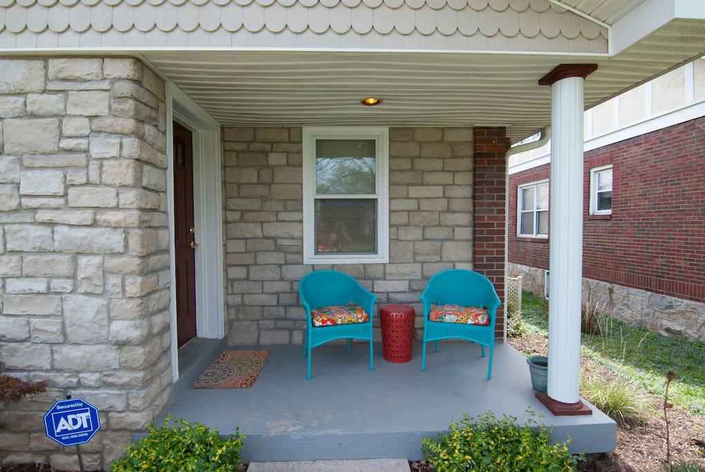 Cozy and cheery front porch