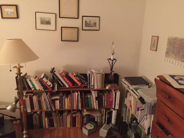 Other corner of bedroom.  Books waiting to be read.