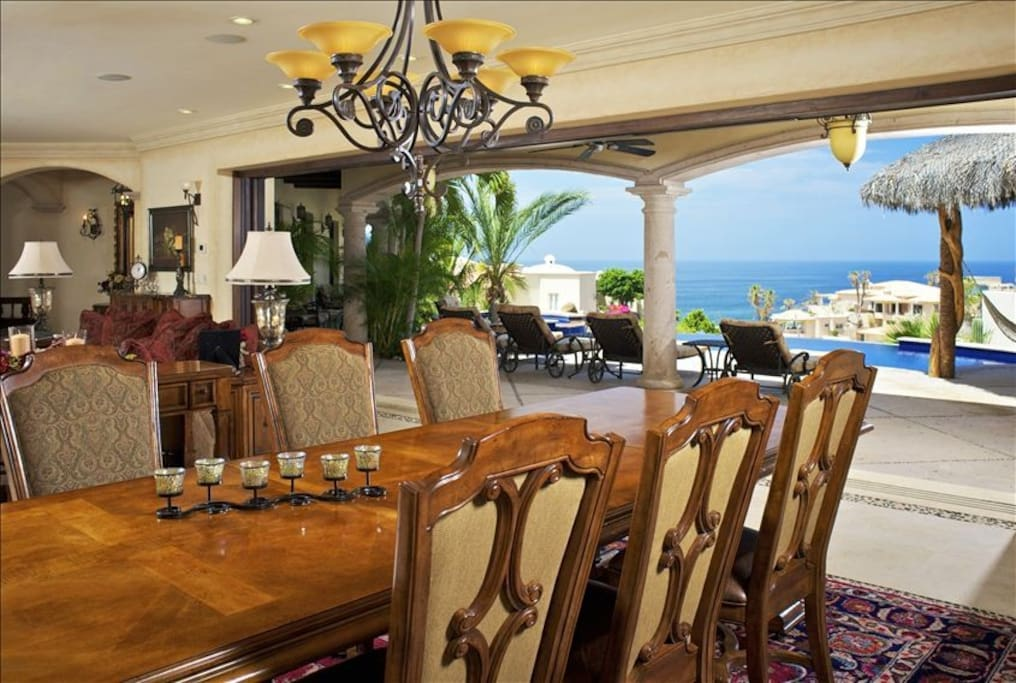 Dining for 10 directly off the pool and kitchen
