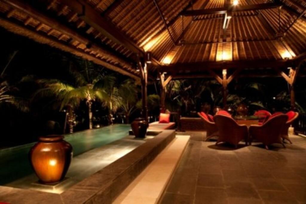 Night pool view