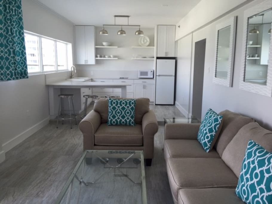 Kitchen and Living Room with Bay Views