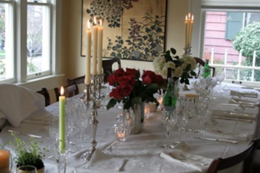 Formal dining room which we use quite often (this was from an engagement party).