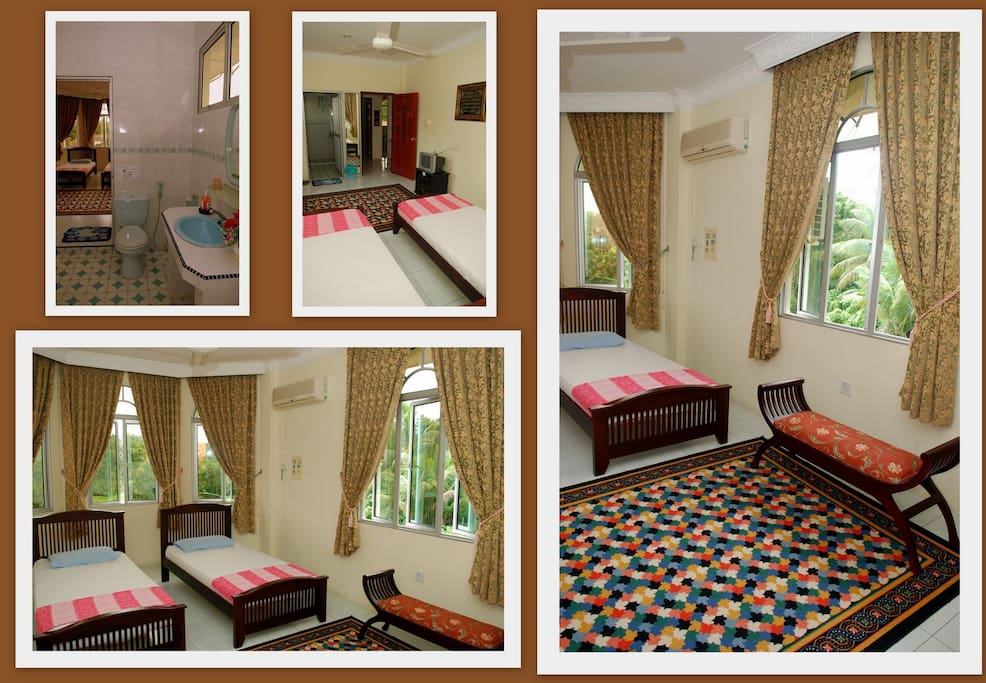 Room No.1 having 2 single beds with joining bathroom woth Room No.2