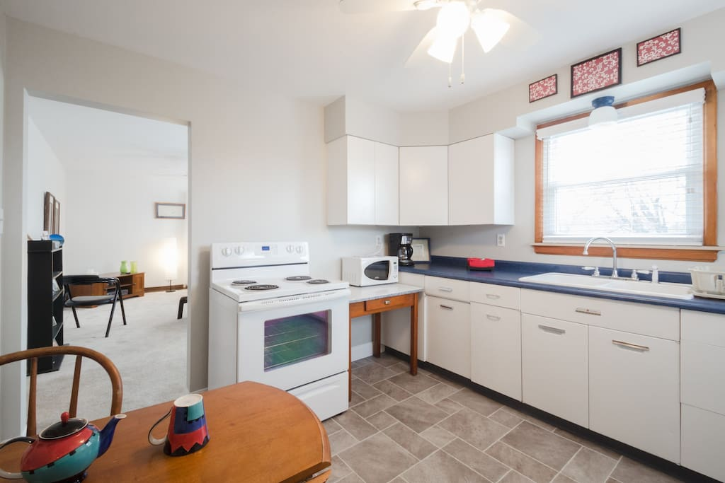 Updated appliances, new counter top, great cabinet space, new flooring, sink and faucet.
