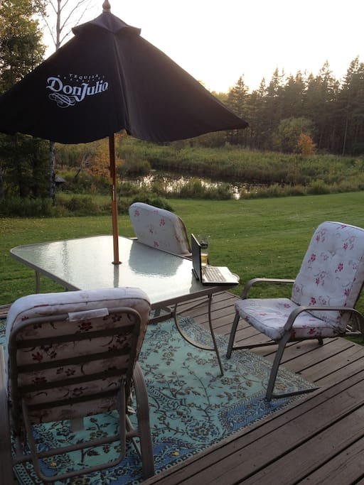 Guests are more than welcome to enjoy our deck and take in the scenery with our private pond.