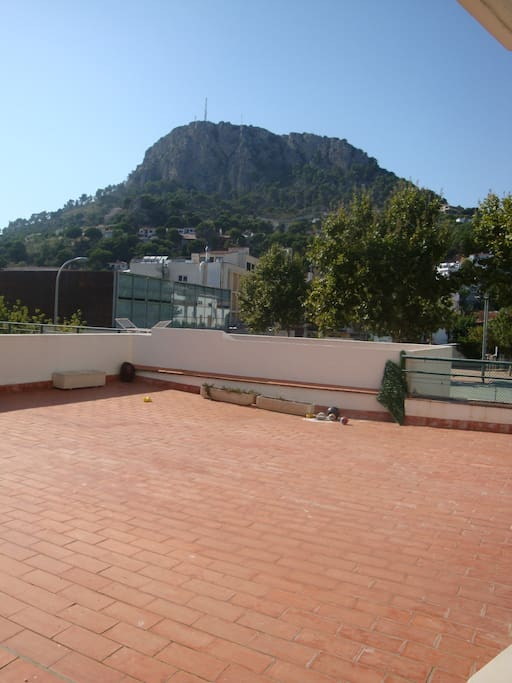 view from terrace to mountain-side