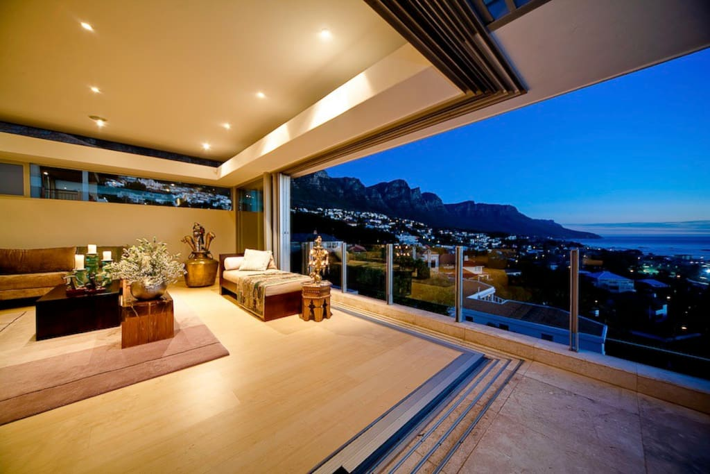 Formal lounge with window opened and stunning  views