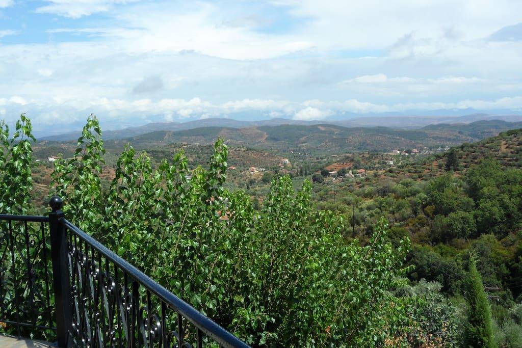 View from the terrace towards Parnon mountain ridge.