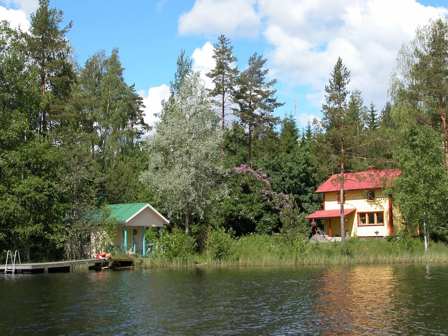 View from the lake showing the house and the sauna
